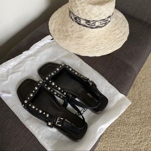 MiuMiu black leather silver studded sandals 8.5